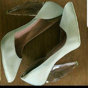 Mint green clear heel